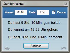 Screenshot: Stundenrechner